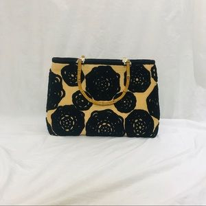 Handbags - Embroidery Tote Ratan with Black Hand Made Flowers